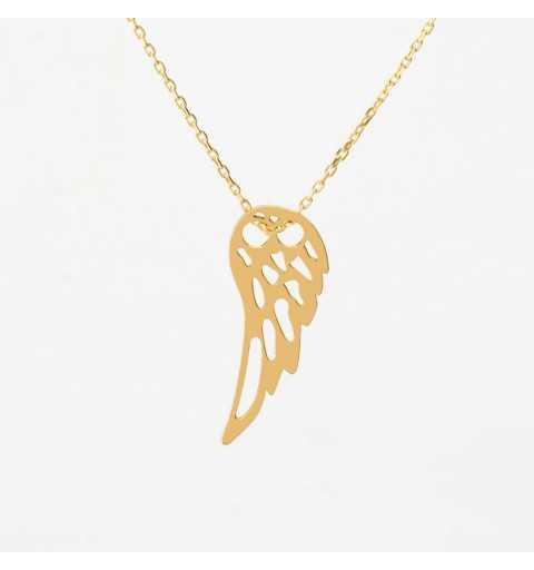 Pozłacana srebrna celebrytka naszyjnik z wiszącym skrzydełkiem