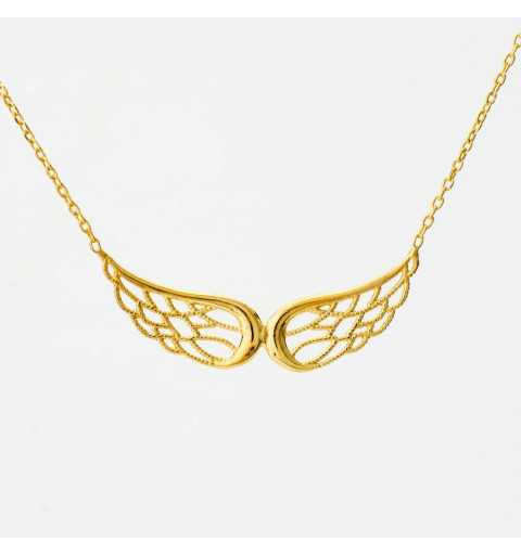 Pozłacana srebrna celebrytka naszyjnik ze skrzydełkami