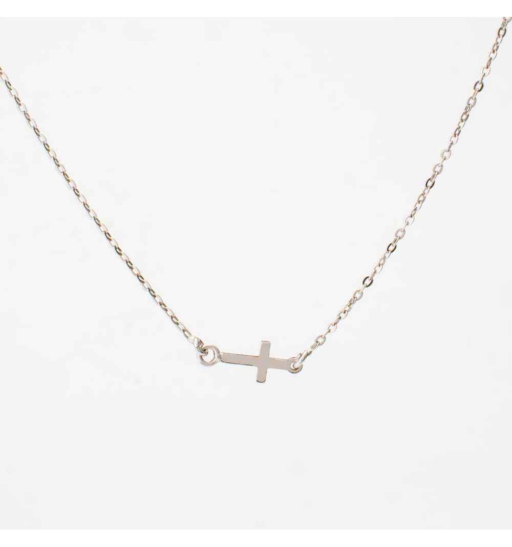 Długi srebrny naszyjnik z krzyżykami