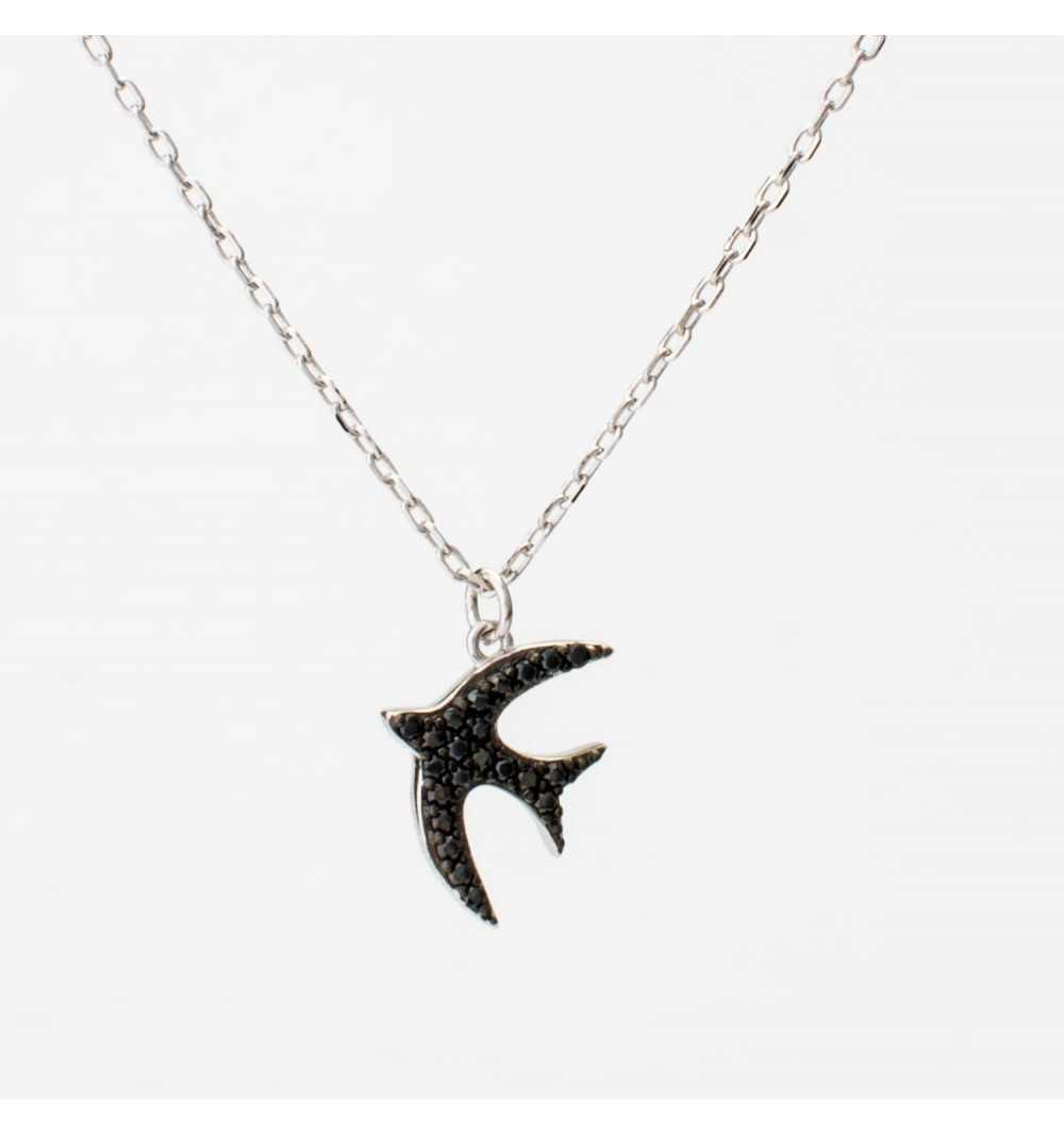 Srebrny naszyjnik jaskółka z czarnymi cyrkoniami