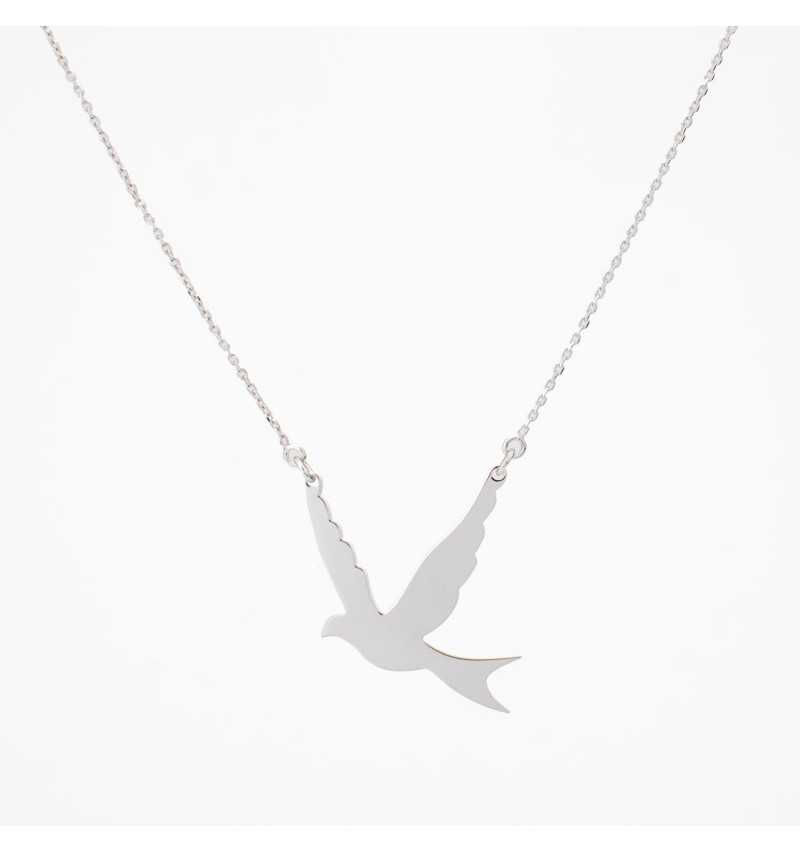 Srebrny naszyjnik z ptakiem