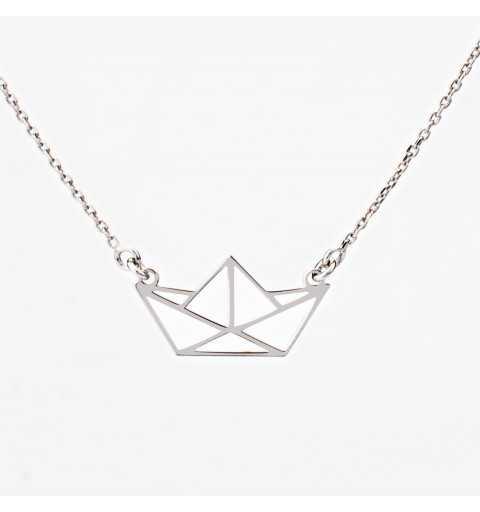 Srebrny naszyjnik statek origami