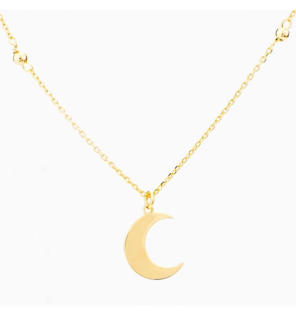 Pozłacany srebrny naszyjnik półksiężyc