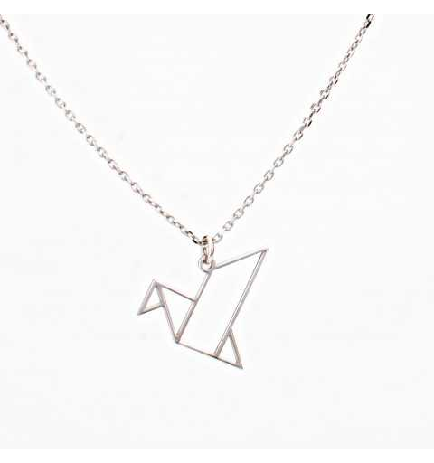Srebrny naszyjnik ptak origami