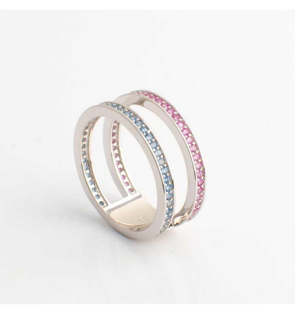 Srebrny pierścionek tunel z niebieskimi i różowymi cyrkoniami