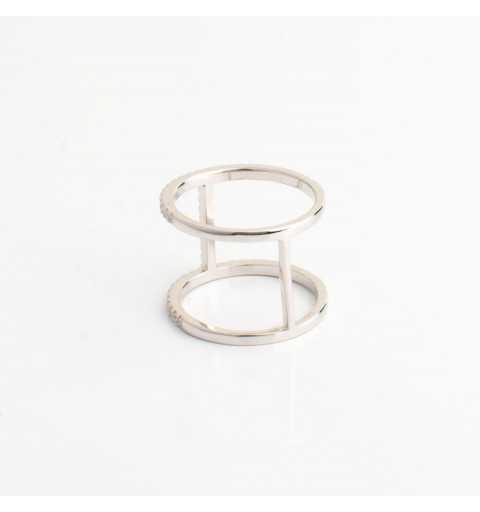 Srebrny pierścionek tunel z cyrkoniami