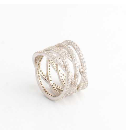Srebrny pierścionek 360 stopni cały wysadzany cyrkoniami