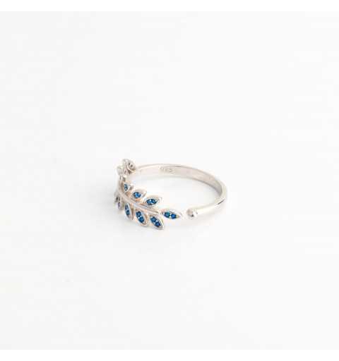 Srebrny pierścionek liść z kamieniami