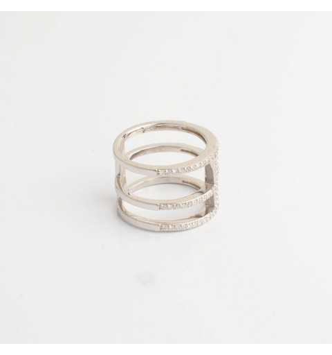 Srebrny pierścionek potrójny tunel