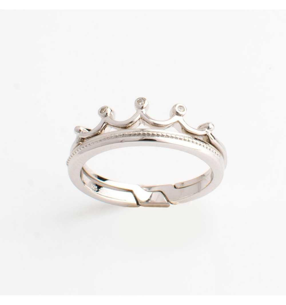Podwójny srebrny pierścionek korona białe cyrkonie