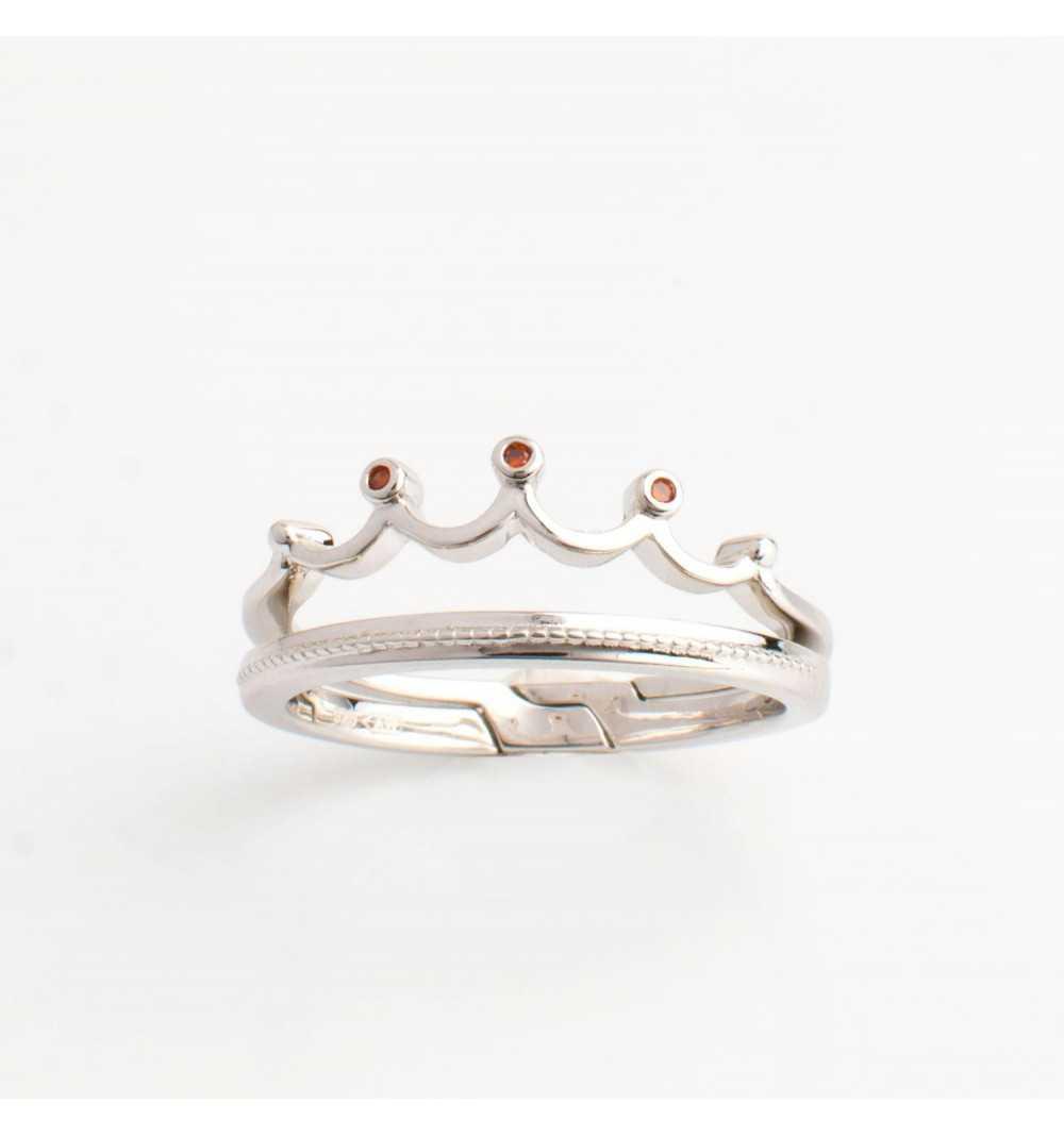 Podwójny srebrny pierścionek korona czerwone cyrkonie