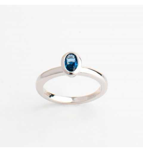 Srebrny knuckle ring /pierścionek na mały palec granatowa cyrkonia