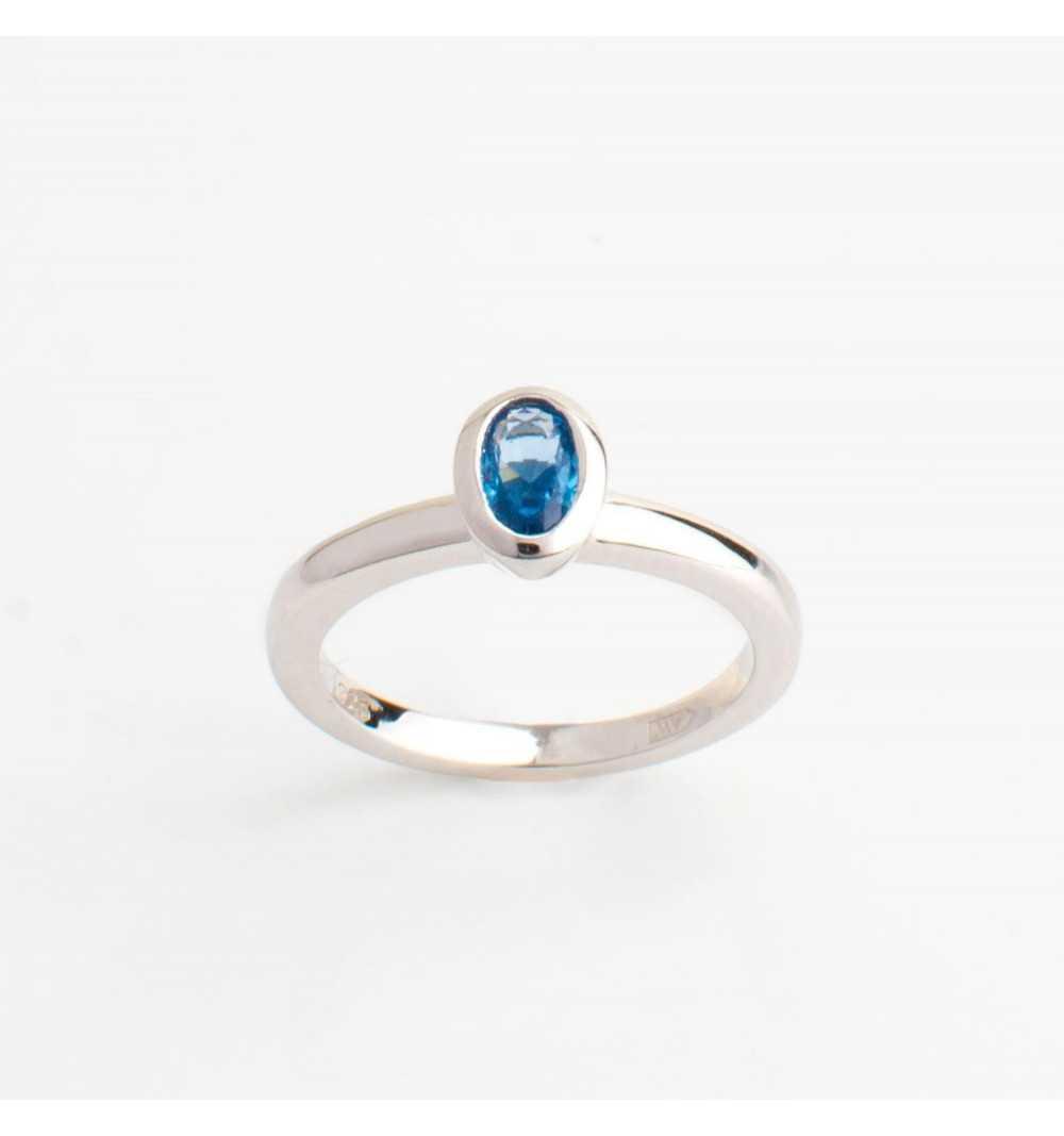 Srebrny knuckle ring / pierścionek na mały palec niebieska cyrkonia
