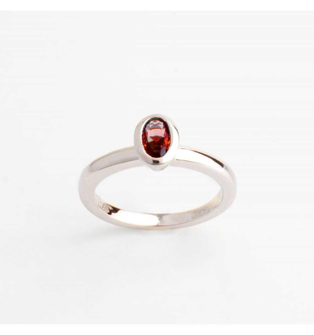 Srebrny knuckle ring / pierścionek na mały palec czerwona cyrkonia