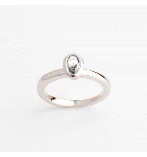 Srebrny knuckle ring / pierścionek na mały palec biała cyrkonia