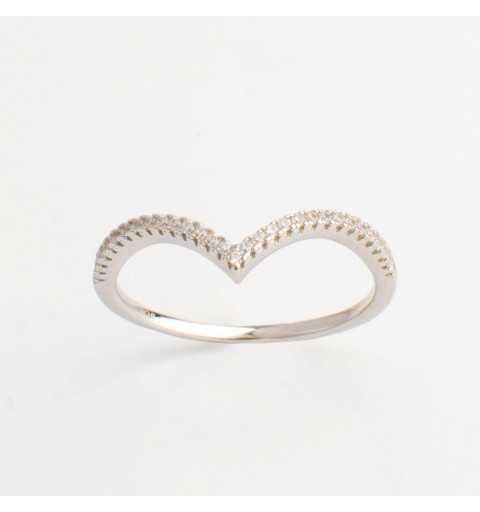 Srebrny pierścionek diadem z białymi cyrkoniami