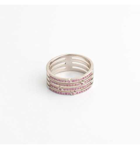 Srebrny pierścionek poczwórny tunel różowe cyrkonie