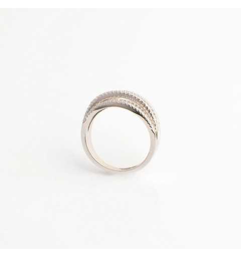 Srebrny pierścionek fale białych cyrkonii