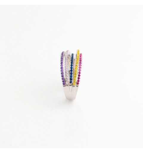 Tęczowy srebrny pierścionek z kolorowymi cyrkoniami
