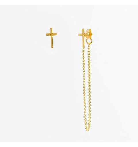 Pozłacane asymetryczne srebrne kolczyki z krzyżykami