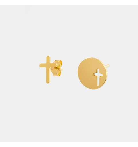 Pozłacane asymetryczne srebrne kolczyki nie do pary z krzyżami