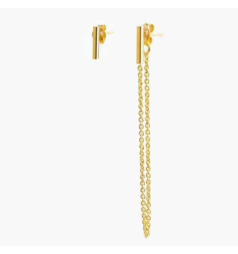 Pozłacane asymetryczne srebrne kolczyki nie do pary pałeczki
