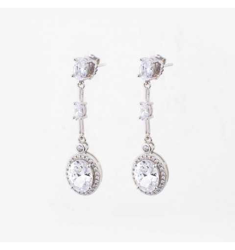 Eleganckie długie srebrne kolczyki z cyrkoniami