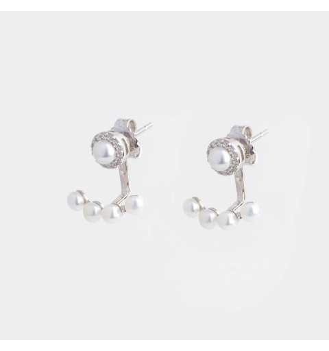 Srebrne kolczyki za ucho z perełkami i cyrkoniami