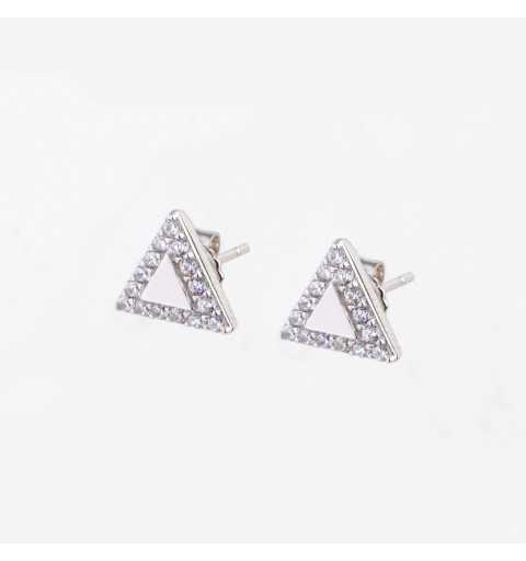 Srebrne kolczyki trójkąty z białymi cyrkoniami