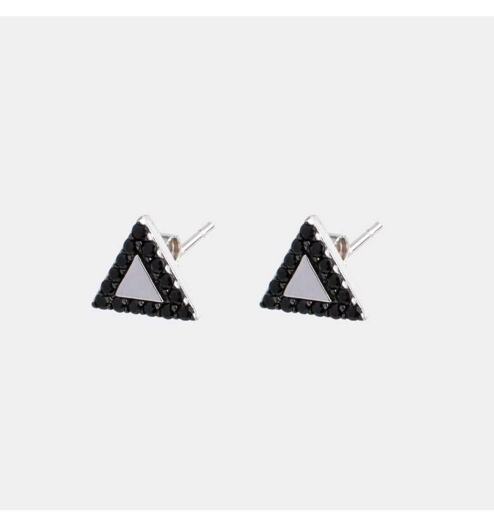 Srebrne kolczyki trójkąty z czarnymi cyrkoniami