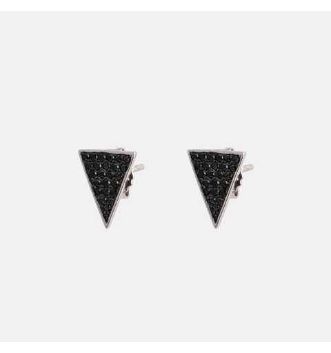 Srebrne kolczyki trójkąty wysadzane czarnymi cyrkoniami