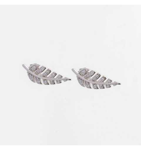 Srebrne kolczyki listki paproci