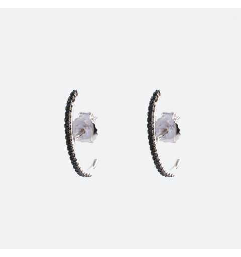 Srebrne kolczyki modowe z czarnymi cyrkoniami