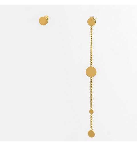 Pozłacane asymetryczne srebrne krótkie i długie kolczyki pchełki