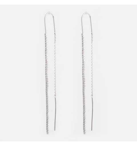 Przeciągane długie srebrne kolczyki wysadzane cyrkoniami