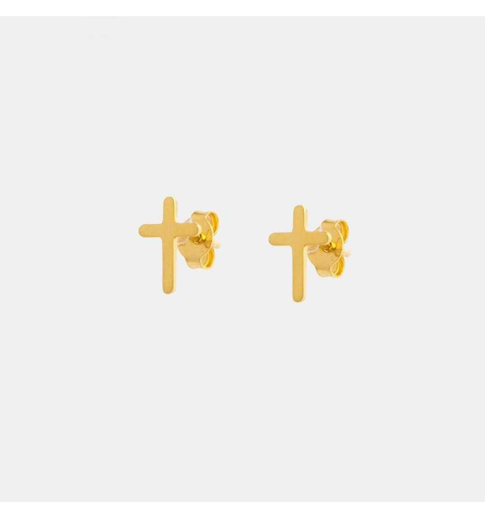 Pozłacane srebrne kolczyki drobne krzyżyki