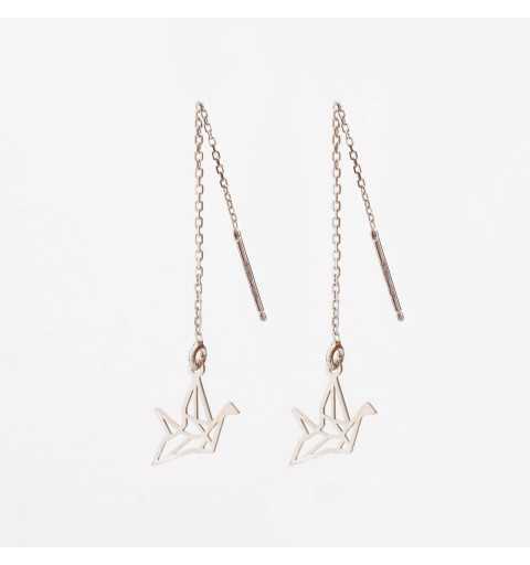Srebrne przeciągane kolczyki ptak origami