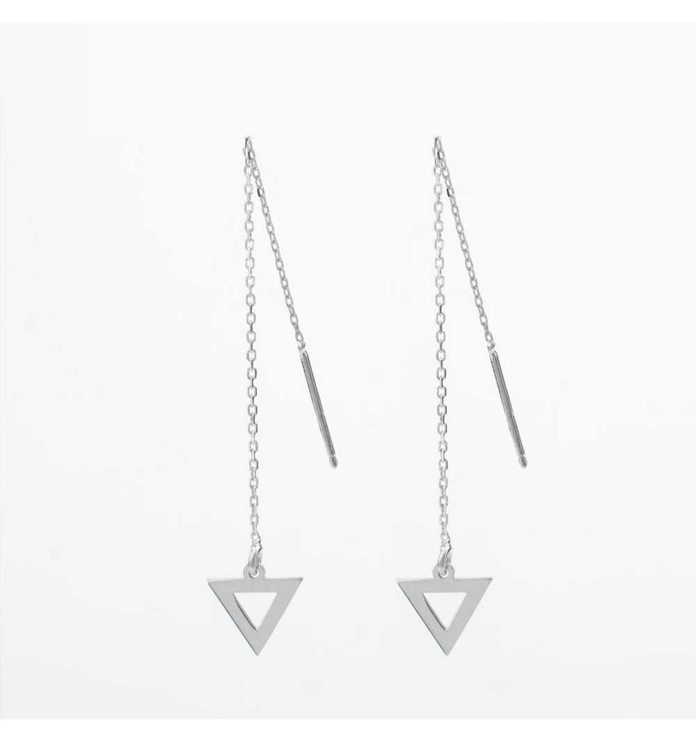 Długie srebrne kolczyki trójkąty