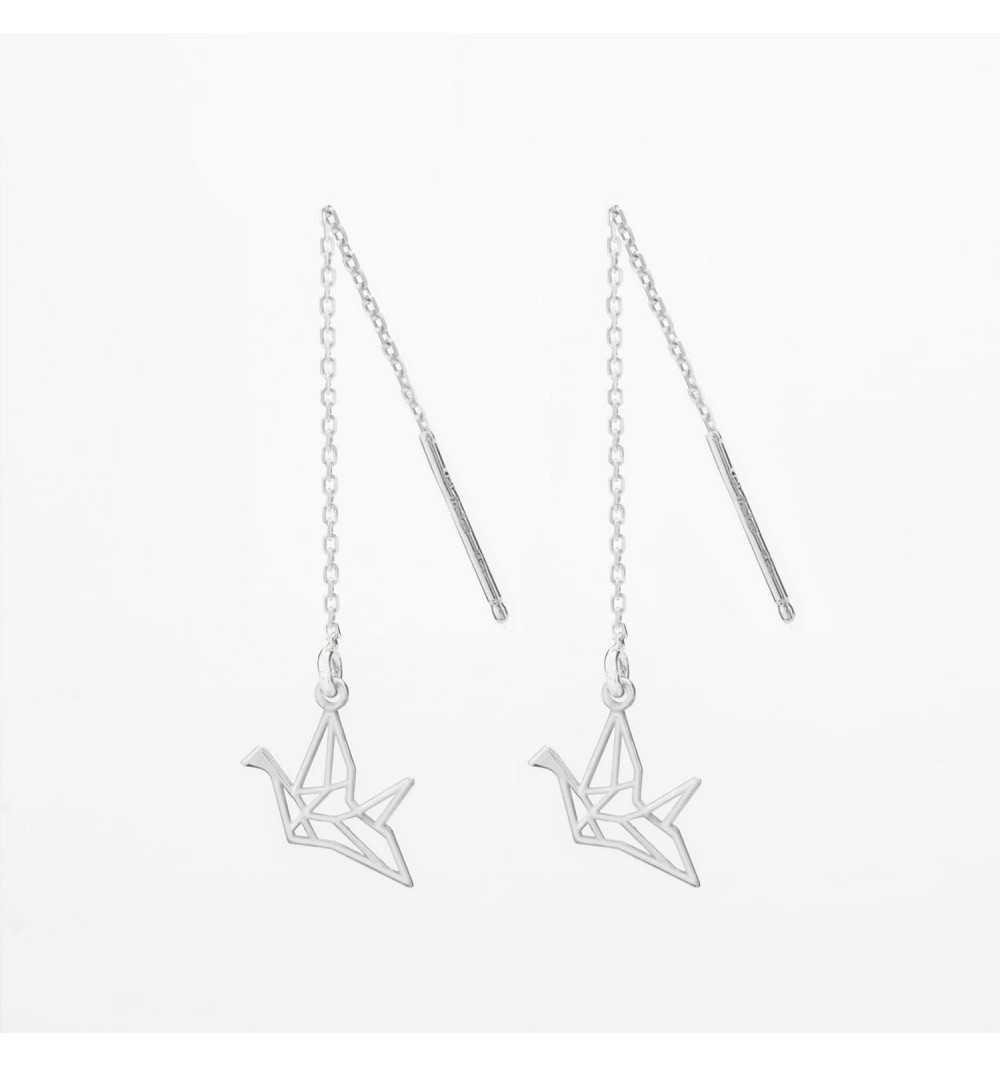 Przeciągane srebrne kolczyki ptak origami
