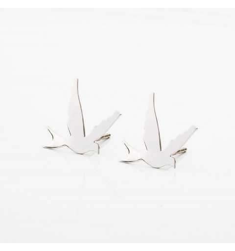 Srebrne kolczyki ptaki