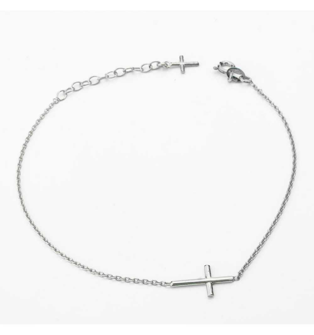 Srebrna bransoletka przeciągany krzyżyk