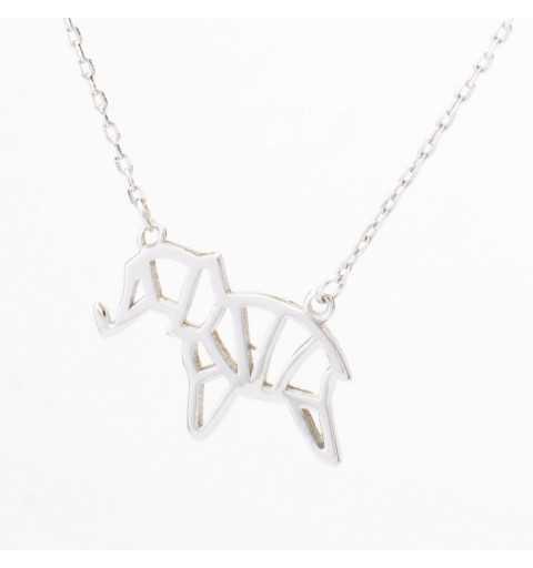 Srebrny naszyjnik origami słoń