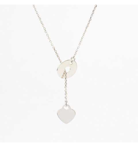 Długi srebrny naszyjnik serce przeciągane przez oponkę