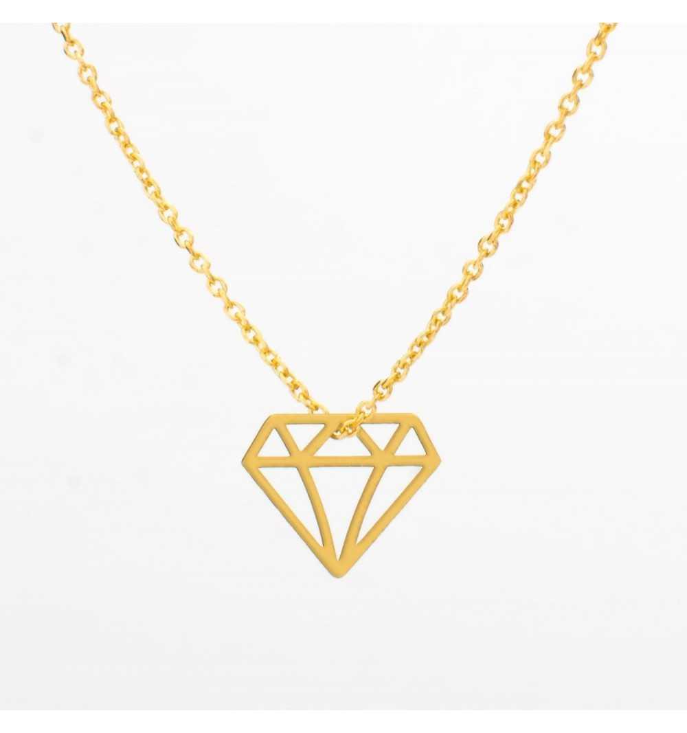 Pozłacany srebrny naszyjnik diament