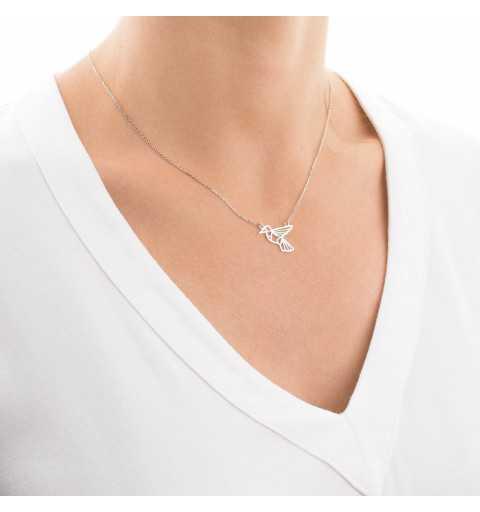 Srebrny naszyjnik z ptakiem origami