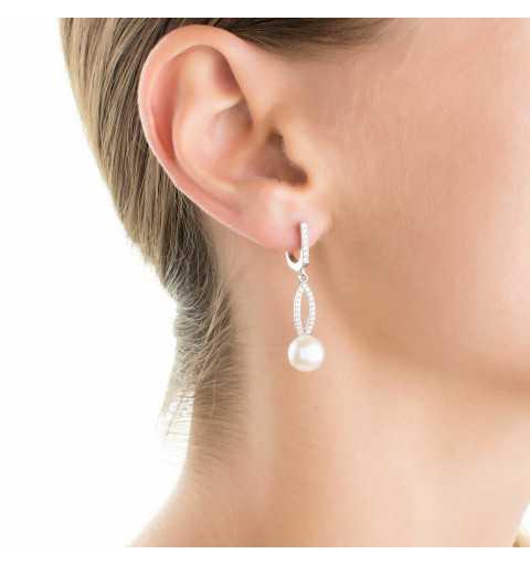 Długie srebrne kolczyki z perłami i cyrkoniami