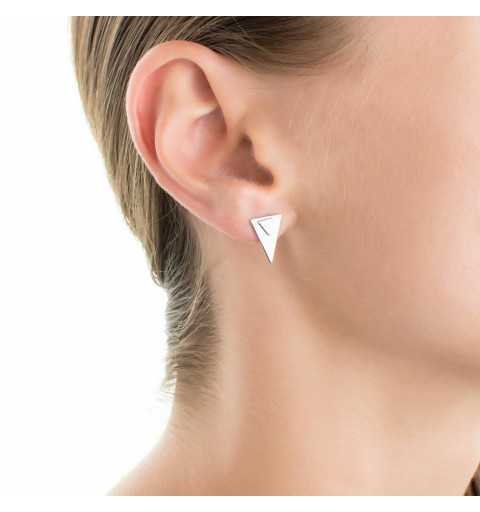 Srebrne kolczyki za ucho dwa trójkąty