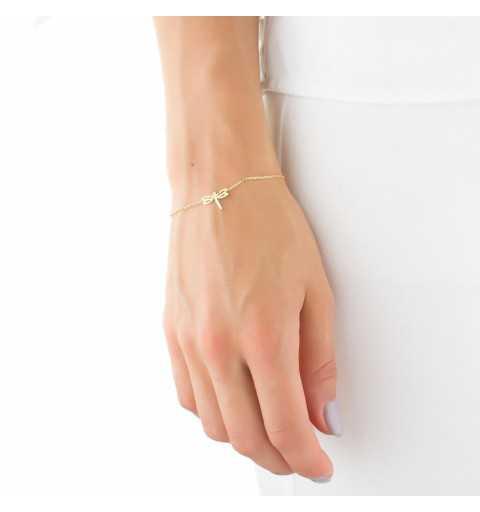 Pozłacana srebrna celebrytka bransoletka ważka