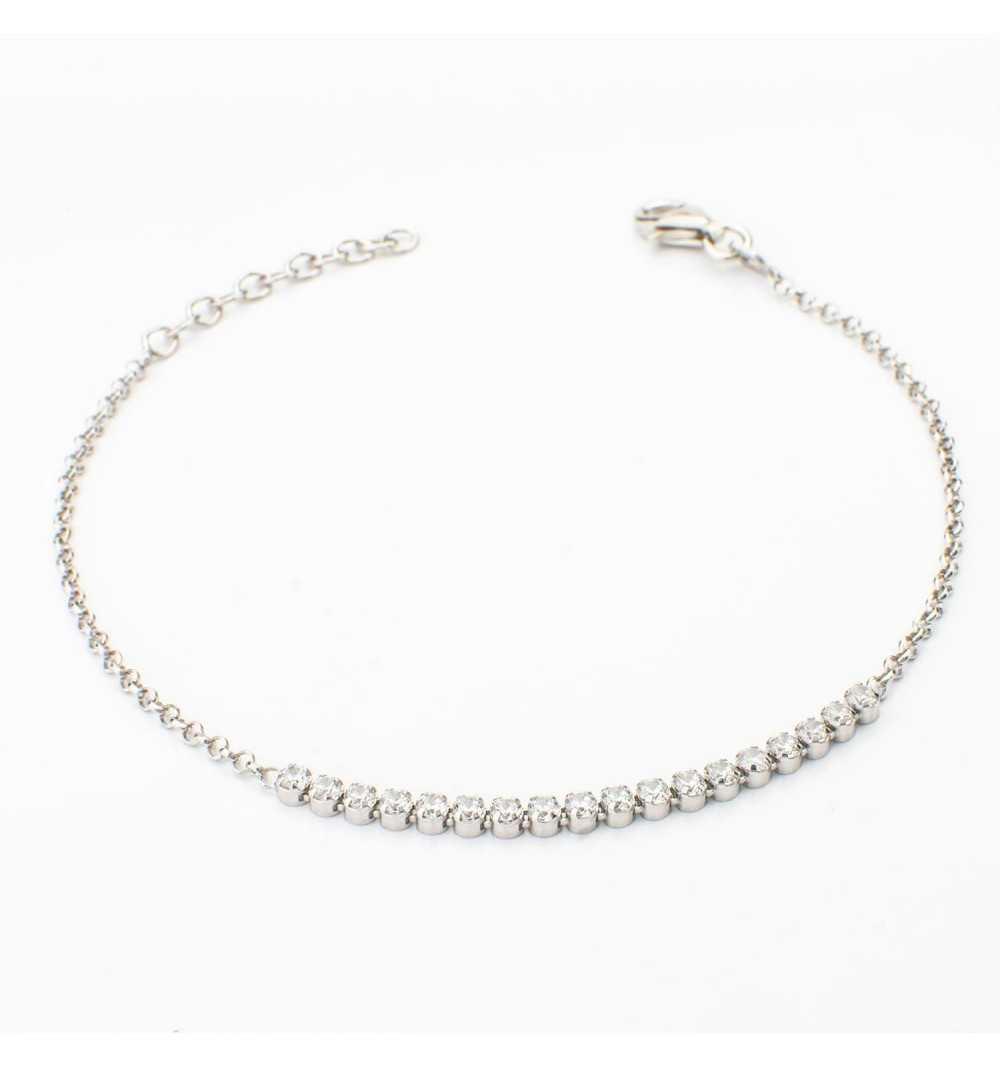 Srebrna bransoletka z białymi cyrkoniami
