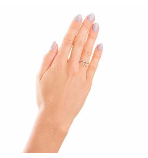 Srebrny pierścionek z pozłacaną nieskończonością